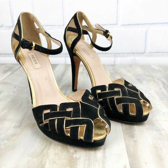 9518d5d2271b0 REISS Suede Peep Toe Heels Gold Accent Size 39 9
